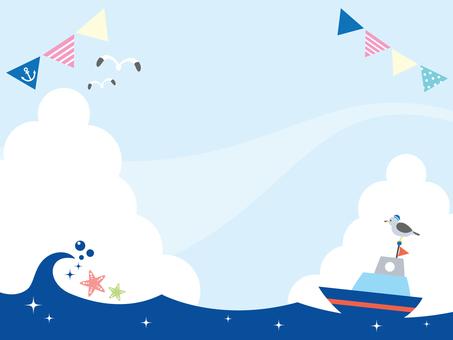夏の海と船