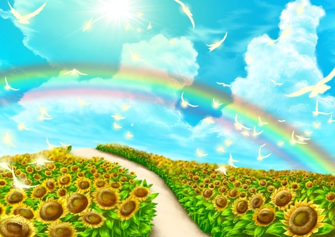 Rainbow and birds and sunflower