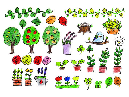 Plants various hand-drawn