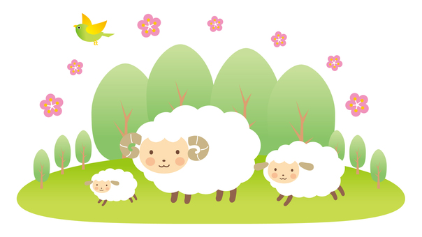 Sheep family's spring