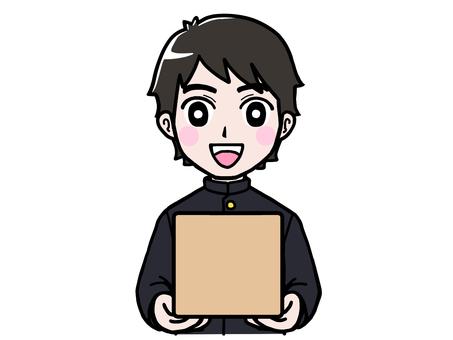 School run boy student with cardboard luggage