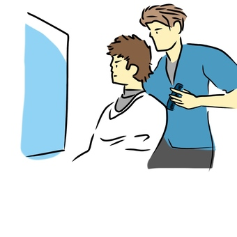 Hair setting men and hairdressers