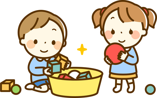 Girls and boys cleaning toys
