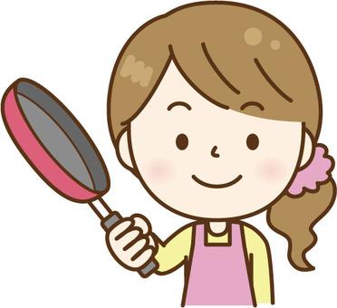 요리 앞치마 여성 핑크