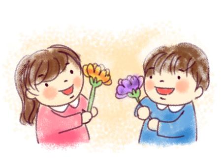 어린이와 꽃