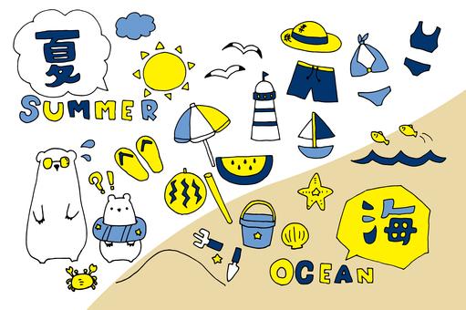 Summer material _ sea (blue base)