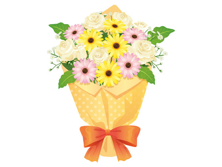 Bouquet of White Roses and Gerberas Arrangement 03