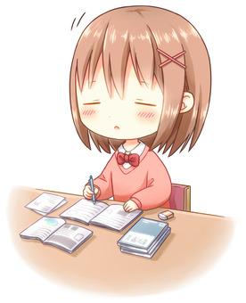 Sleepy girl while studying