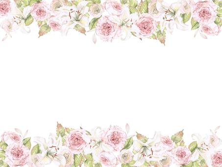 Flower frame 191 - Flower frame frame of lily and rose