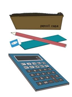 Writing utensils and calculator