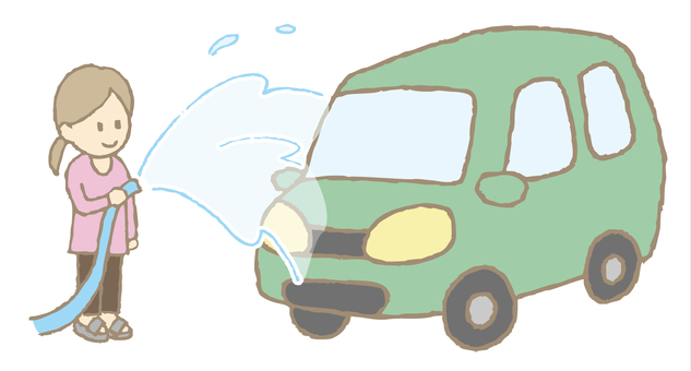 Car wash: water all over the car with a hose (green car)