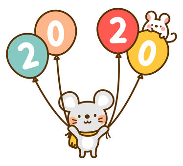 Mouse and 2020 balloons