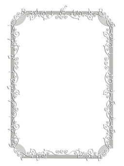 Musical note line frame silver