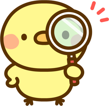 A chick with a magnifying glass
