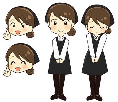 Female clerk black apron