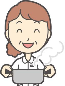 Middle-aged woman nurse white coat-326-Bust