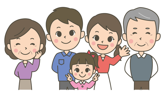 Three generations five people family (girl)