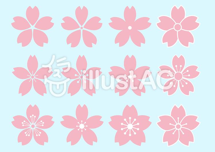 サクラの花 デザイン 12種イラスト No 863501無料イラストなら