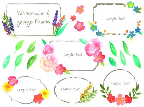 Watercolor & grunge frame set
