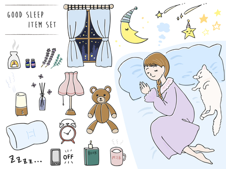 Hand drawn style Sleeping / Sleeping illustration set