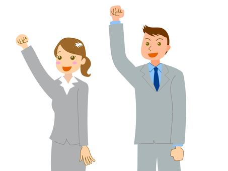 Man and woman in a suit giving fists