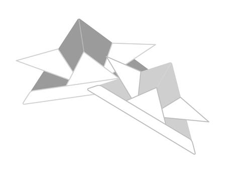 Origami headprint - black and white