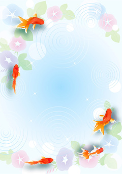 Goldfish and morning glory frame (vertical)