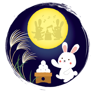 The moonlight illustration of a circular rabbit