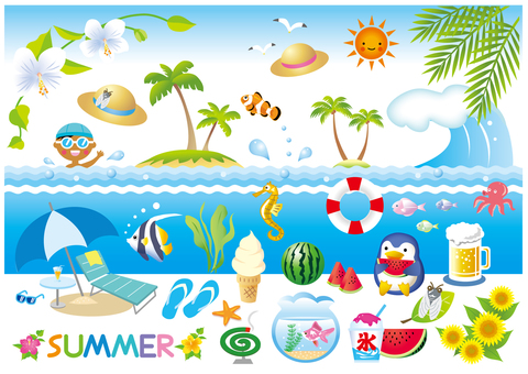Various summer item (white borderless version) version