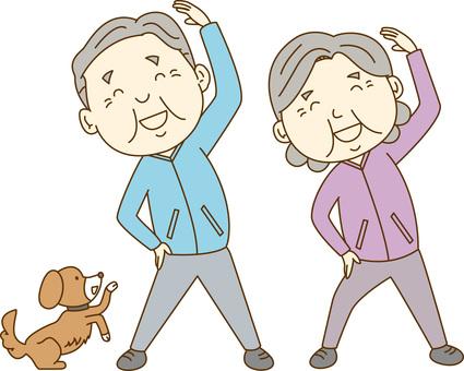 Elderly couple / radio gymnastics
