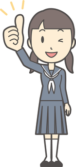 Junior high school sailor woman-049-whole body