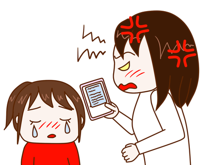 懊惱的看著智能手機的母親和哭泣的女兒