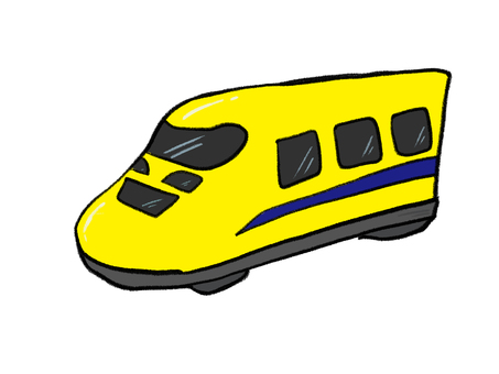 Yellow car body Shinkansen