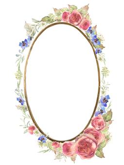 Elliptic shaped mirror, flower frame 1 - beautiful pink rose