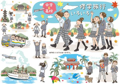 Various school trip trips