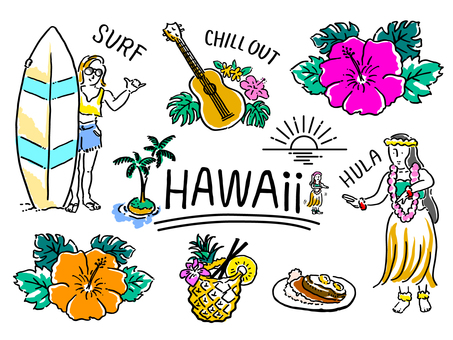 Southern country feeling illustration set _ Hawaii color version