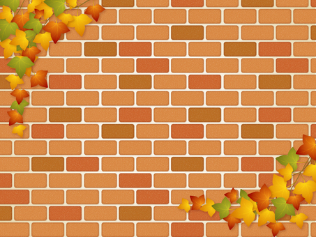 Brick wall and Ivy (autumn leaves)