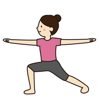 "Woman doing ""warrior pose 2"" by yoga"