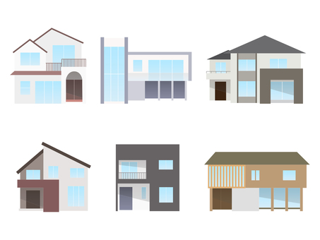 Modern house illustration set (without trees and hedges)