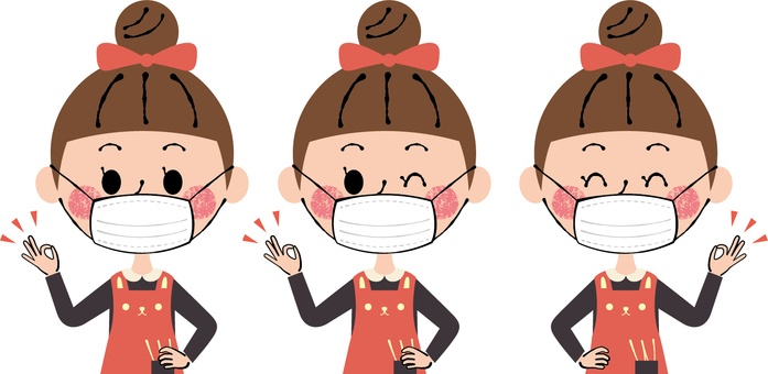 Preventive measures with disposable masks Children girls