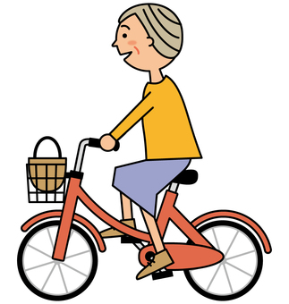 Senior woman riding a bicycle