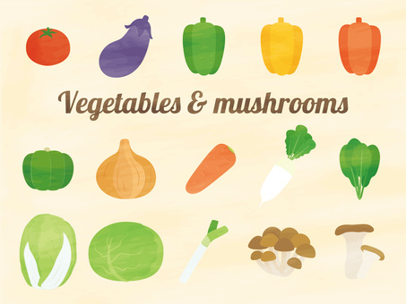 Vegetables and mushrooms set watercolor style