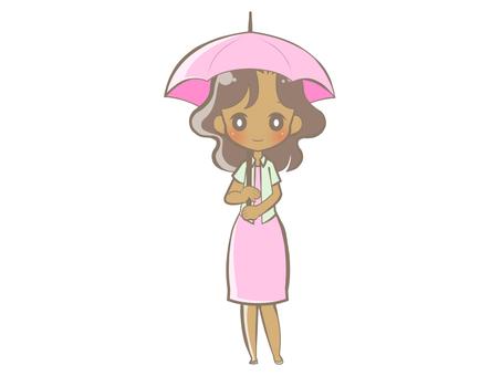 Black woman full body holding a umbrella-smile 190727