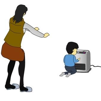 Children touching oil fan heater