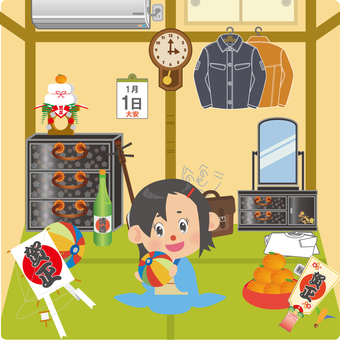 A woman flying in a Japanese style room on a New Year with a paper breeze