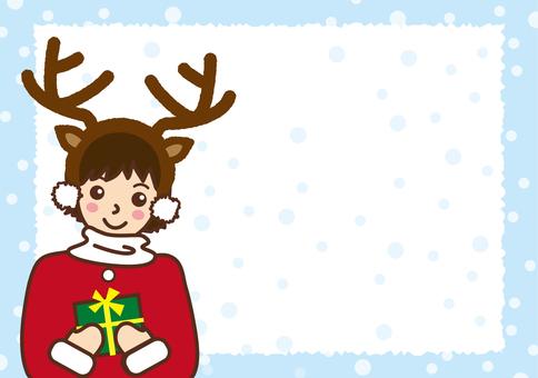 Reindeer girl's Christmas card