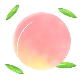 Round peach with leaves