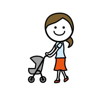 A woman strolling a stroller