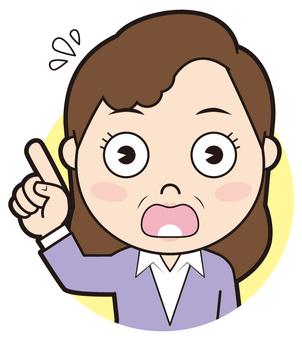 Finger pointing senior woman (surprised)