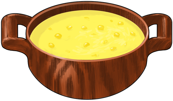 Corn potage wooden pot with outlines